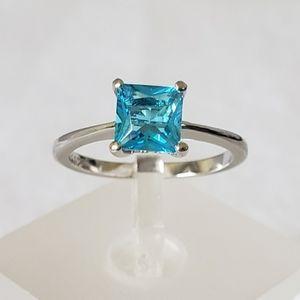 Sterling Princess Cut Acqua Ring